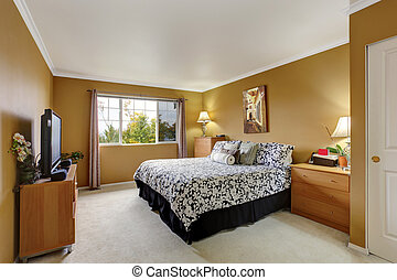 Bedroom inteior in mustard color - Bedroom in mustard color...