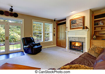 Cozy living room interior with fireplace - Cozy living room...
