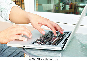 business man hands busy using laptop for use as illustration