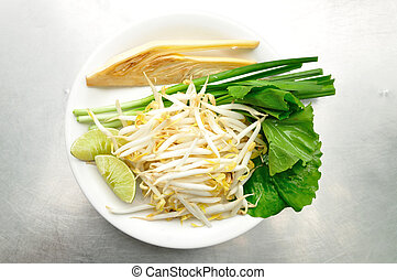 Mix of Thai Vegetable, Bean sprout, lime, banana blossom and...