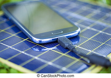 Charging smart-phone with solar charger - Solar Mobile Phone...