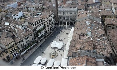 Piazza Erbe Verona Time Lapse Tilt Shift, view from Lamberti...