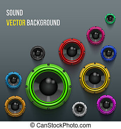 Colorful Sound Load Speakers on dark background. -...