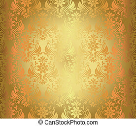 Luxury seamless golden floral