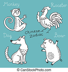 Set of the Chinese zodiac signs