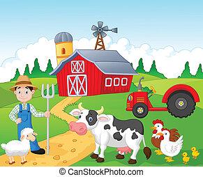 Cartoon Farmer working in the farm - Vector illustration of...