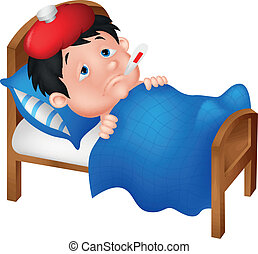 niño, acostado, enfermo, Cama, caricatura