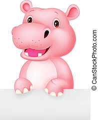 Cute hippo cartoon holding blank si