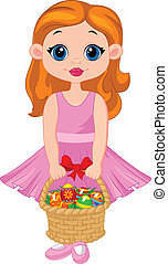 Little girl cartoon with basket ful - Vector illustration of...