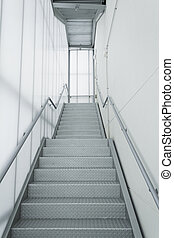 Internal steel stairs - Stairs inside white and metal...