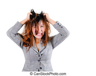 Stress Woman stressed is going crazy pulling her hair in...