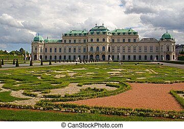 Garden of Belvedere Palace in Wien, Austria - Photo shows...