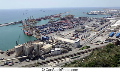 Industrial port of Barcelona in daytime Spain