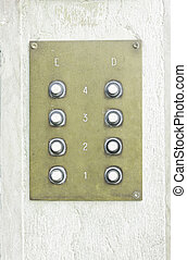 Intercom bronze urban building, construction