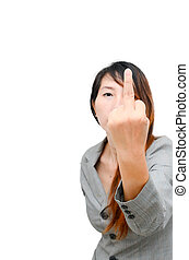 Asian Smart business woman making a rude hand gesture -...