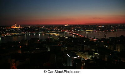 Istanbul at Sunset with illuminated mosques