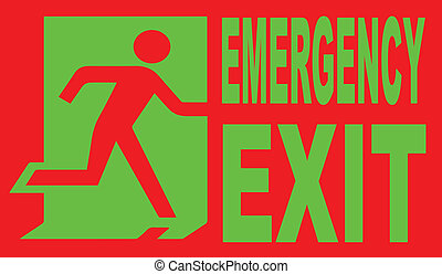Emergency Exit - A red and green emergency exit sign