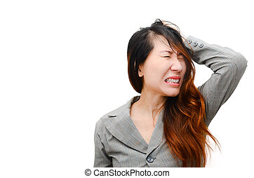 Stress. Woman stressed is going crazy pulling her hair in...