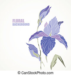 violet iris card. With space for your text