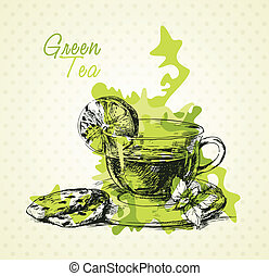green tea - Hand drawn green tea with lemon, mint and...