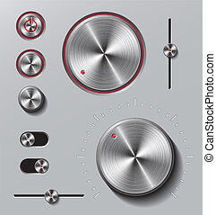 Bright metal buttons and dials set. - Bright metal buttons...