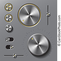 Grey metal buttons and dials set. - Grey metal buttons and...