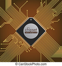 Chipset circuit vector background, brown and gold colors