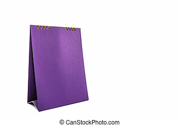 Purple blank paper desk spiral calendar on white background