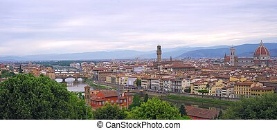 Panoramic view to the Florence city, Italy