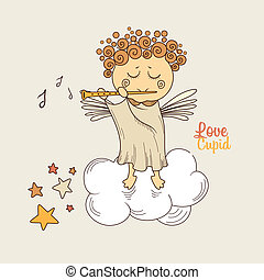 Cupid playing the flute - Cute angel in the clouds playing...