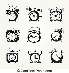 alarm clock black icons - Stylized icons alarm clock (hours)...