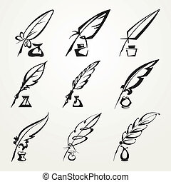 collection feather pen and ink - set of monochrome feather...