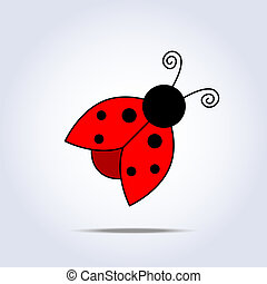 Ladybug icon in vector on gray background