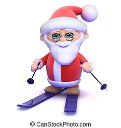 3d Santa on skis - 3d render of Santa Claus on a pair of...