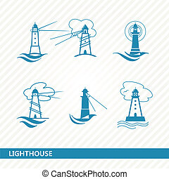 set of lighthouses - set of stylized lighthouses