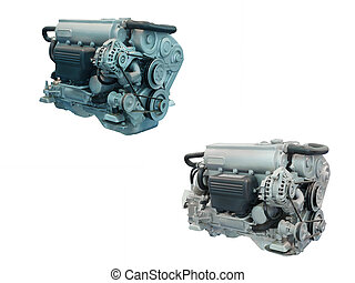 engines - The image of engines isolated under the white...