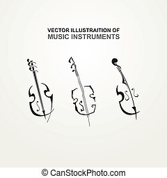 Music instruments - Stylized icons of stringed instruments