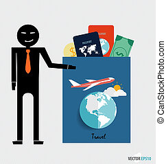 International passport and elements of travel Vector...