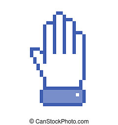 Pixel hand up icon, vector illustration for your design