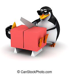 3d Penguins saws his friend in half - 3d render of a penguin...