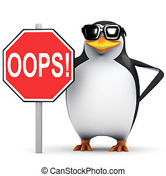 "3d Penguin with ""Oops"" sign"