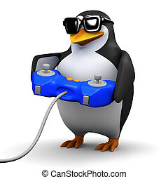 3d Penguin plays videogames - 3d render of a penguin playing...