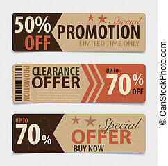 Price tag, sale coupon, voucher Vintage Style template...