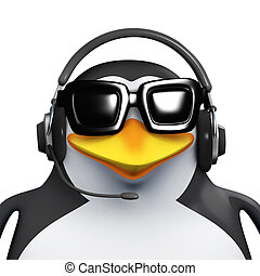 3d Penguin call centre employee - 3d render of a penguin...