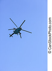 helicopter in the sky above Slavic Ukraine