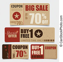 Sale Coupon, voucher, tag Vintage Style template Design...