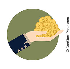 Money on hand Vector illustration