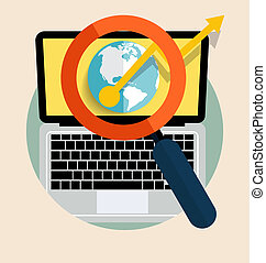 Laptop with magnifying glass. Vector illustration.
