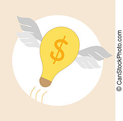 Flying light bulb Modern Flat design vector illustration...