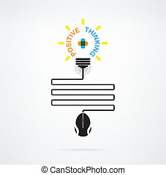 Creative light bulb idea and positive thinking concept